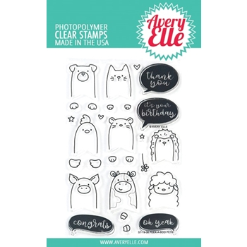 Avery Elle Clear Stamps PEEK A BOO PETS ST-19-08