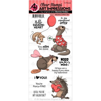 Art Impressions VALENTINE CRITTERS Clear Stamps 5117*