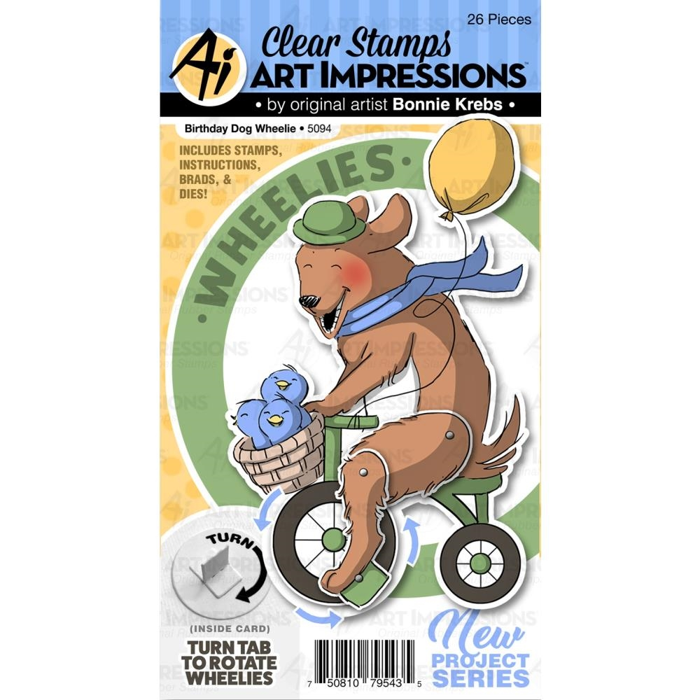 Art Impressions BIRTHDAY DOG WHEELIE Clear Stamp and Die Set 5094* zoom image