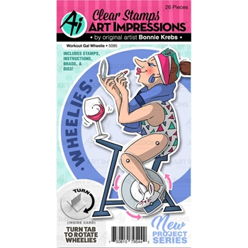 Art Impressions WORKOUT GAL WHEELIE Clear Stamp and Die Set 5095