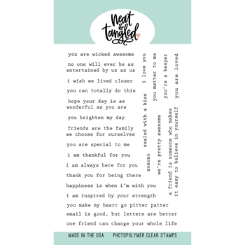 Neat and Tangled TYPED SENTIMENTS Clear Stamps NAT460