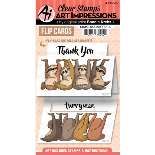 Art Impressions SLOTH FLIP CARD Clear Stamps 5105 Preview Image