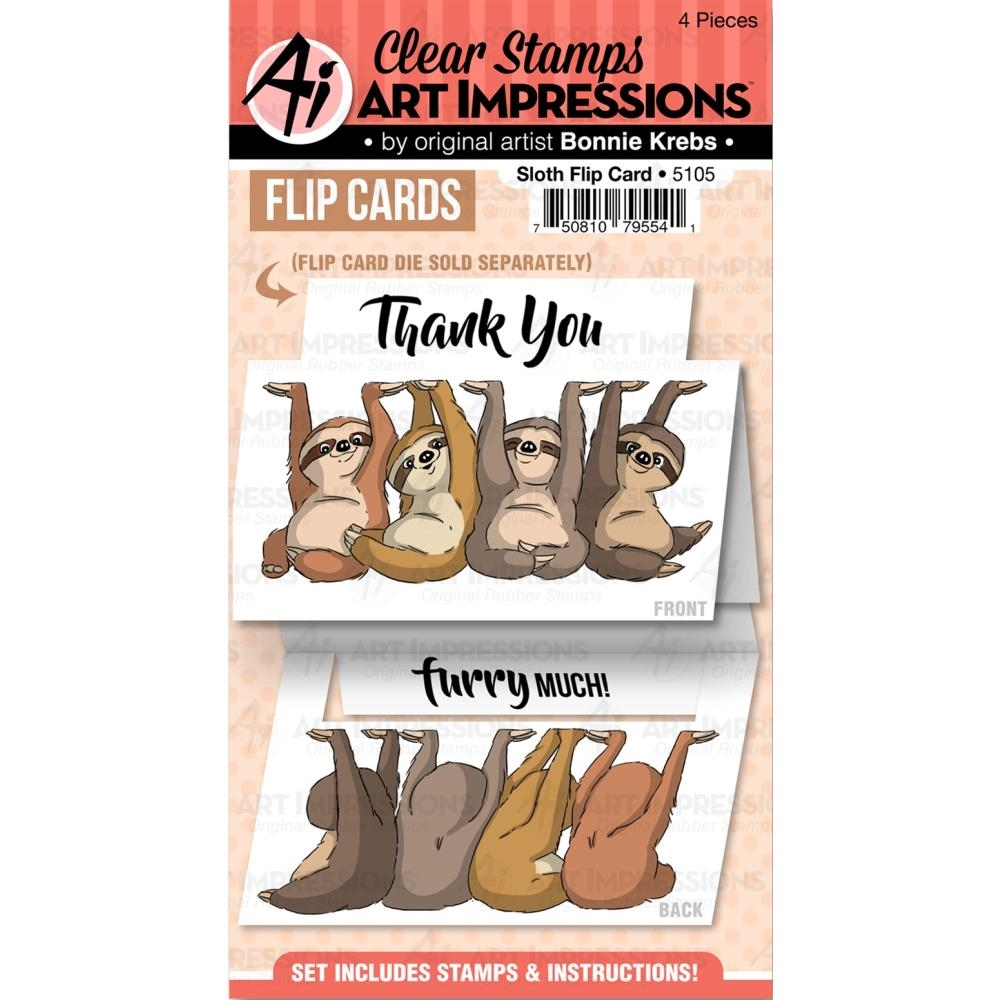 Art Impressions SLOTH FLIP CARD Clear Stamps 5105 zoom image