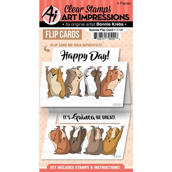Art Impressions GUINEA FLIP CARD Clear Stamps 5106