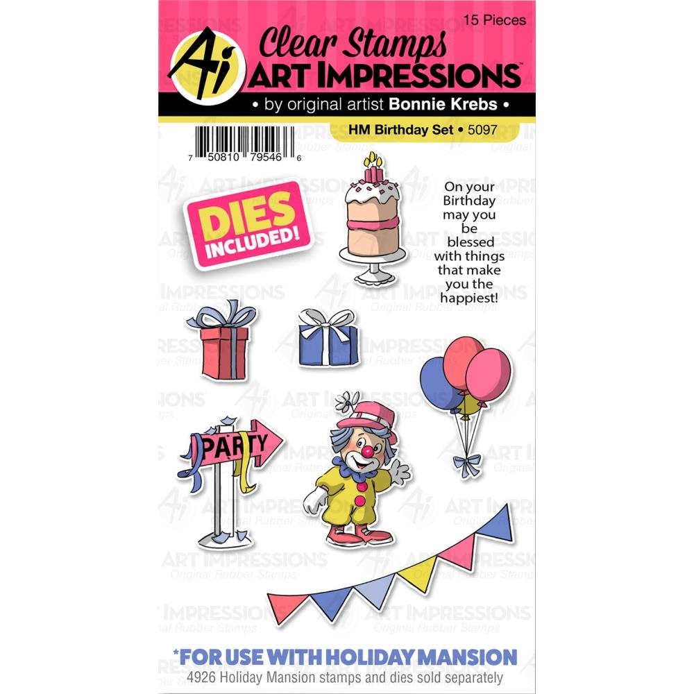 Art Impressions BIRTHDAY SET Clear Stamps and Dies Holiday Mansion Accessories 5097 zoom image