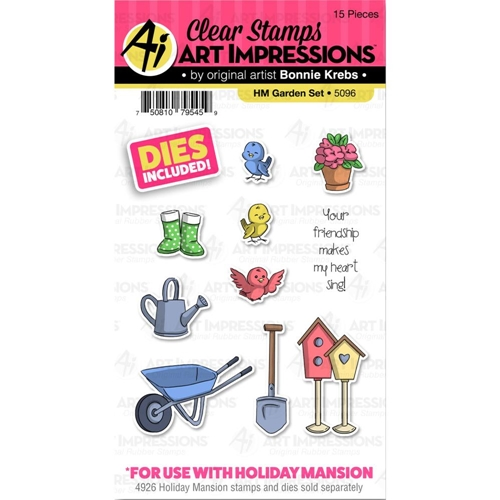Art Impressions GARDEN SET Clear Stamps and Dies Holiday Mansion Accessories 5096 Preview Image