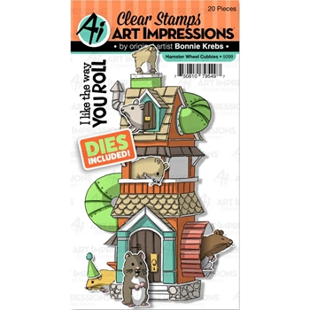Art Impressions HAMSTER WHEEL CUBBIES Clear Stamps and Dies 5099