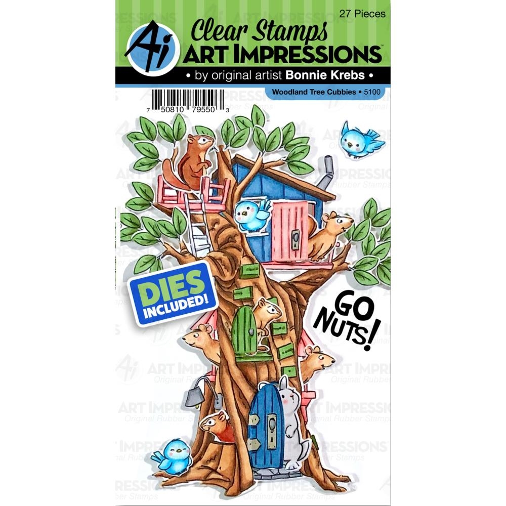 Art Impressions WOODLAND TREE CUBBIES Clear Stamps and Dies 5100 zoom image