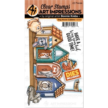 Art Impressions DOG HOUSE CUBBIES Clear Stamps and Dies 5101