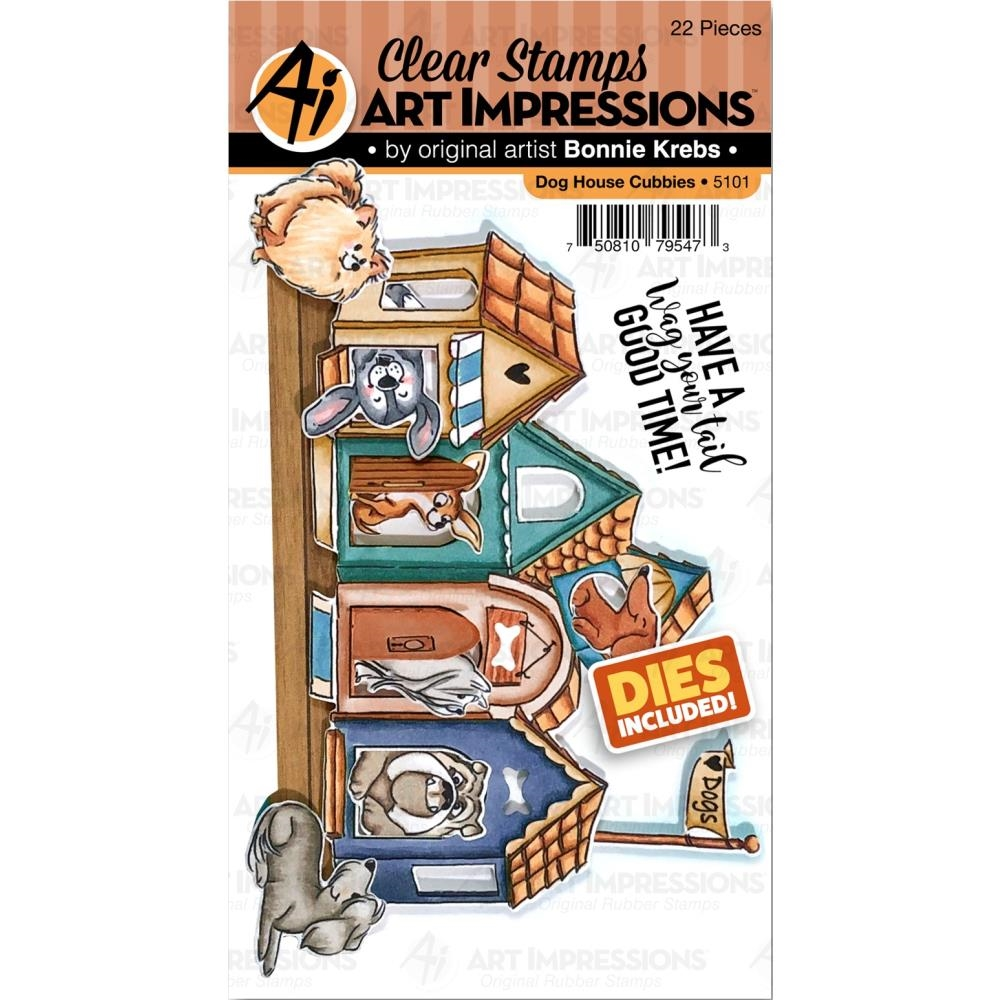 Art Impressions DOG HOUSE CUBBIES Clear Stamps and Dies 5101 zoom image