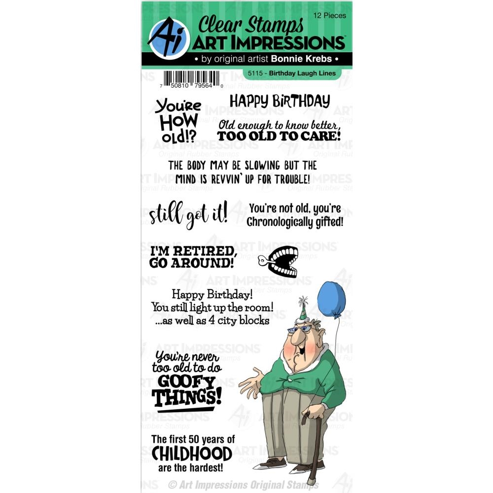 Art Impressions BIRTHDAY LAUGH LINES Clear Stamps 5115 zoom image