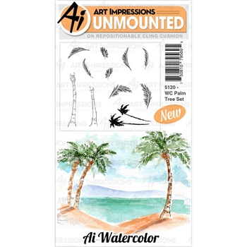 Art Impressions Watercolor PALM TREE Cushion Cling Stamps 5120