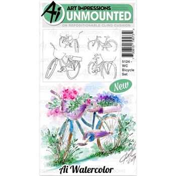 Art Impressions Watercolor BICYCLE Cushion Cling Stamps 5124