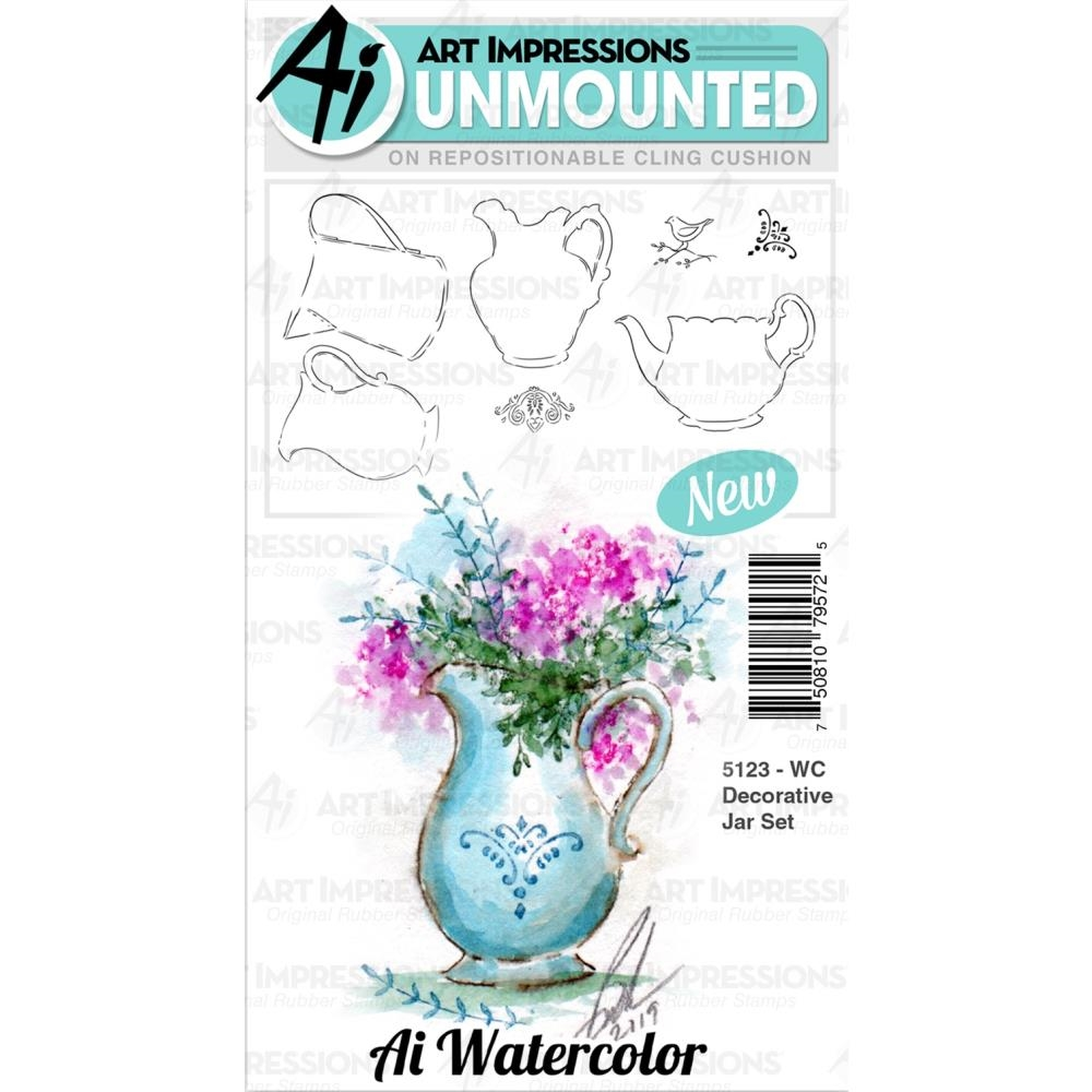 Art Impressions Watercolor DECORATIVE JAR Cushion Cling Stamps 5123 zoom image