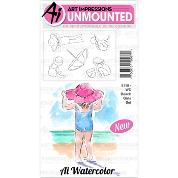 Art Impressions Watercolor BEACH GIRLS Cushion Cling Stamps 5118