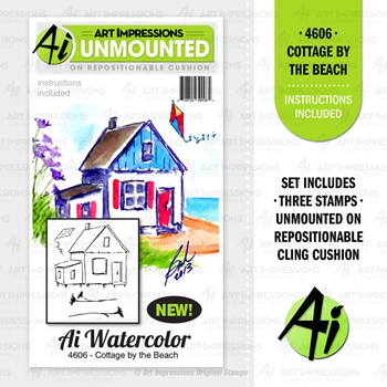 Art Impressions Watercolor COTTAGE BY THE BEACH Cushion Cling Stamps 4606