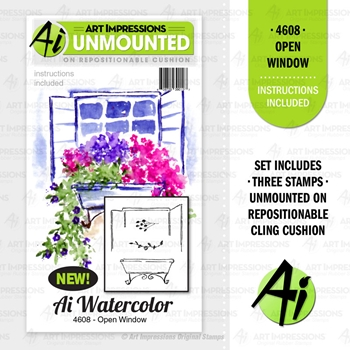 Art Impressions Watercolor OPEN WINDOW Cushion Cling Stamps 4608
