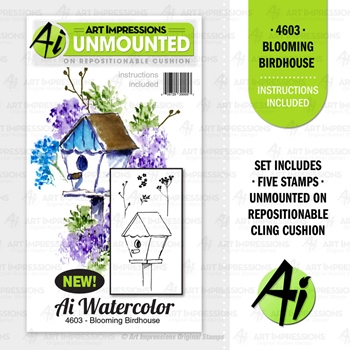 Art Impressions BLOOMING BIRDHOUSE Cushion Cling Stamps 4603