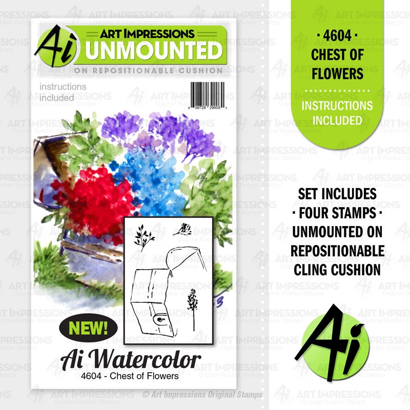 Art Impressions Watercolor CHEST OF FLOWERS Cushion Cling Stamps 4604 zoom image