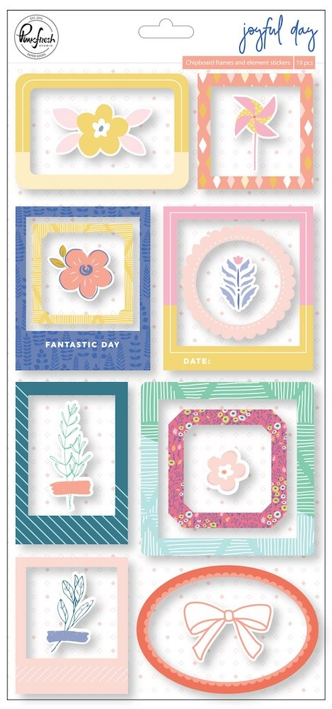Pinkfresh Studio JOYFUL DAY Chipboard Frames And Accent Stickers pfrc200819 zoom image