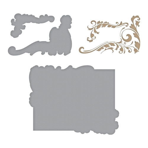 GLP-119 Spellbinders GILDED LEAVES SHAPED PANEL Glimmer Hot Foil Plate Preview Image