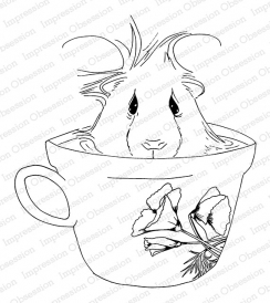 Impression Obsession Cling Stamp COFFEE GUINEA PIG H13747 Preview Image