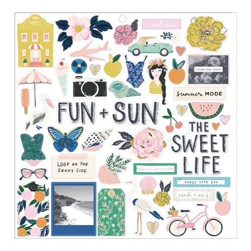 Crate Paper SUNNY DAYS 12 x 12 Chipboard Stickers 350801 Preview Image