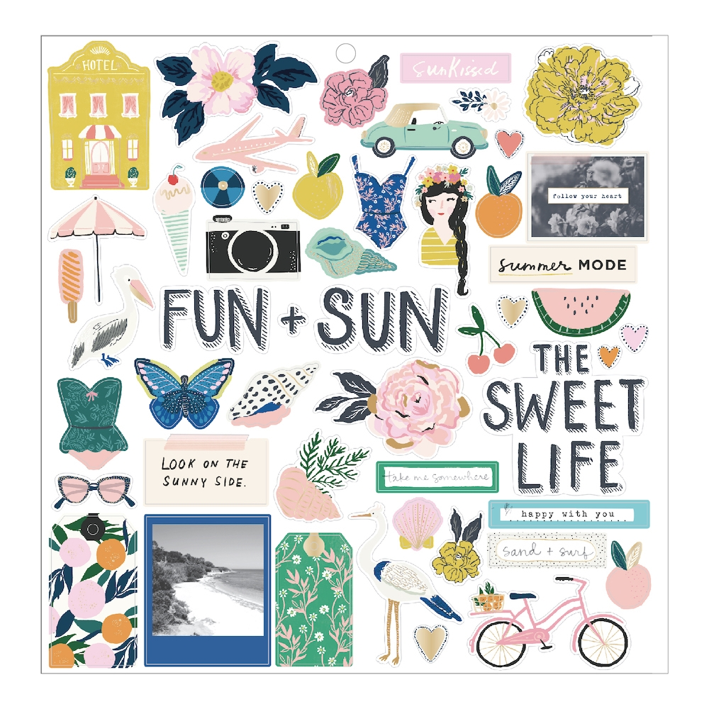 Crate Paper SUNNY DAYS 12 x 12 Chipboard Stickers 350801 zoom image