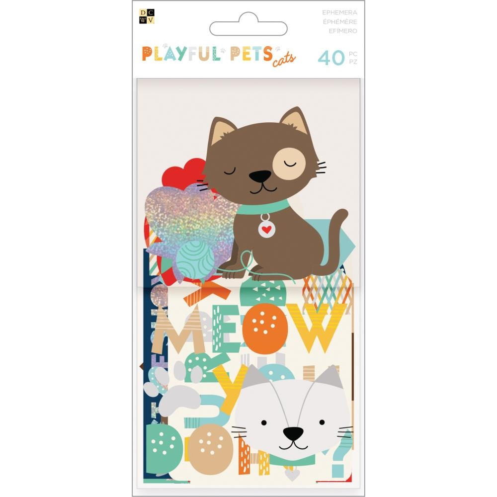 DCWV PLAYFUL PETS CATS Ephemera Die Cuts 615094 zoom image