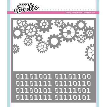 Heffy Doodle COGS AND CODE 2 IN 1 Stencil hfd0132