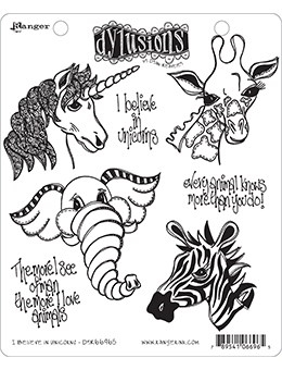 Dyan Reaveley I BELIEVE IN UNICORNS Cling Stamp Set Dylusions DYR66965
