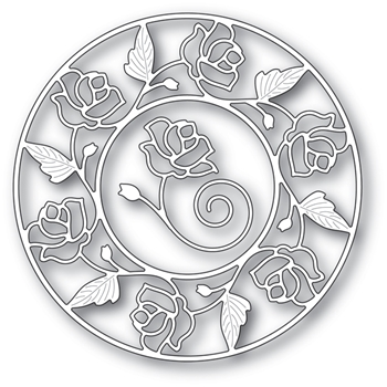 Memory Box STAINED GLASS ROSE CIRCLE FRAME Craft Dies 94231