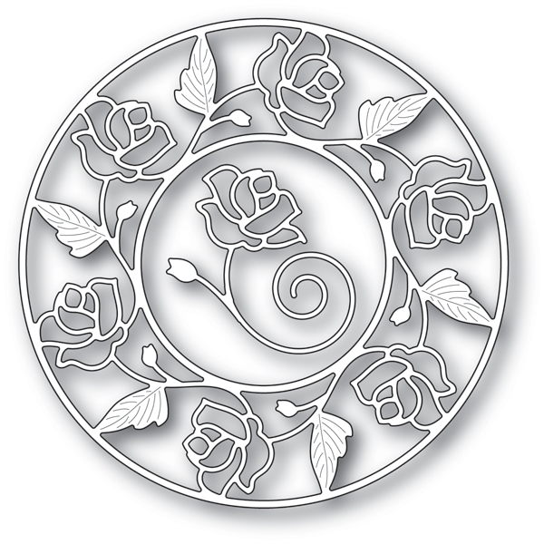 Memory Box STAINED GLASS ROSE CIRCLE FRAME Craft Dies 94231 zoom image
