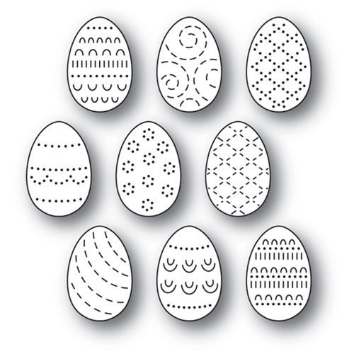 Poppy Stamps FOLK DECORATED EGGS Craft Dies 2180 Preview Image