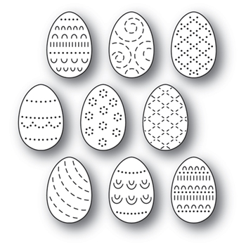 Poppy Stamps FOLK DECORATED EGGS Craft Dies 2180