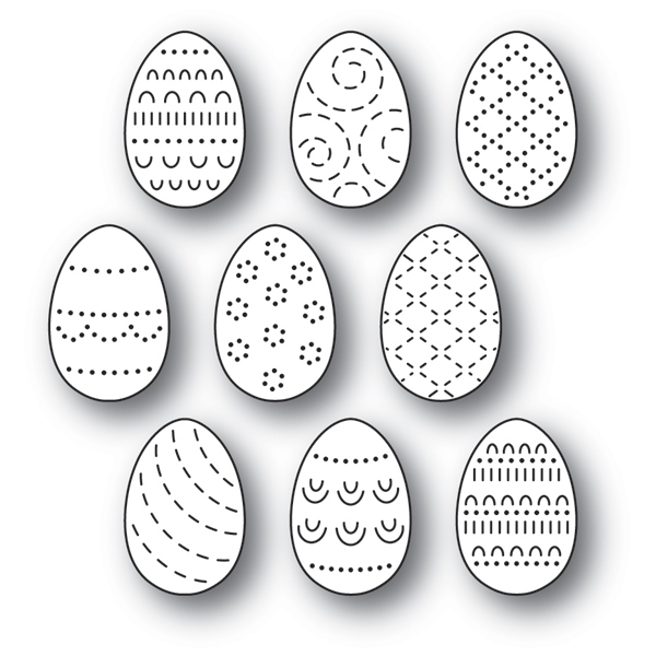 Poppy Stamps FOLK DECORATED EGGS Craft Dies 2180 zoom image