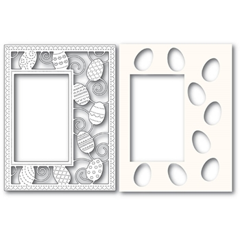 Poppy Stamps DECORATED EGG SIDEKICK FRAME Craft Dies and Stencil 2182