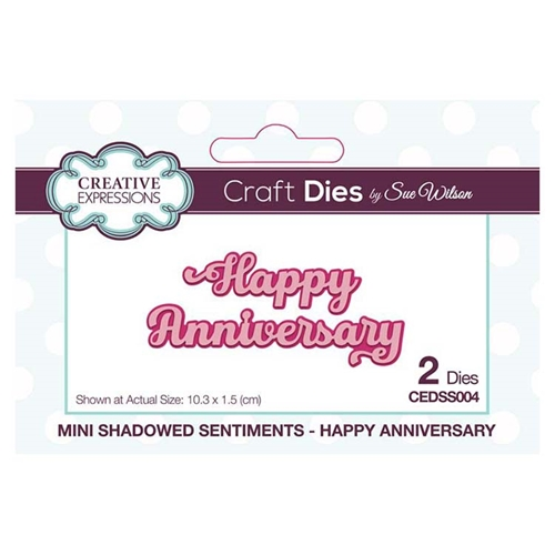 Creative Expressions HAPPY ANNIVERSARY Sue Wilson Mini Shadowed Sentiments Dies cedss004 Preview Image