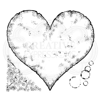 Woodware Craft Collection TORN PAPER HEART Clear Stamps frs072