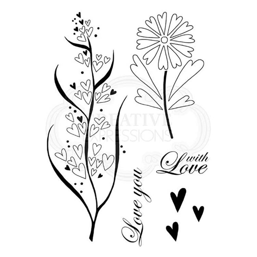 Woodware Craft Collection RUSTIC HEARTS Clear Stamps jgs655* Preview Image