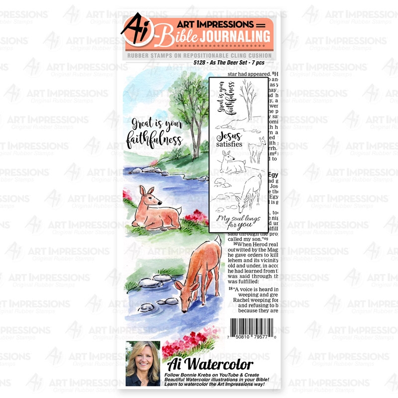 Art Impressions Watercolor AS THE DEER Bible Journaling Cushion Cling Stamps 5128 zoom image