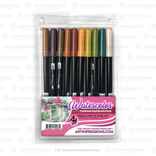 Art Impressions BONNIE'S FAVORITES 2 Watercolor Tombow Dual Brush Pens 5138 Preview Image