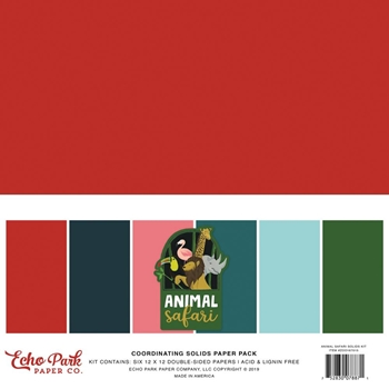 Echo Park ANIMAL SAFARI 12 x 12 Double Sided Solids Paper Pack zoo167015