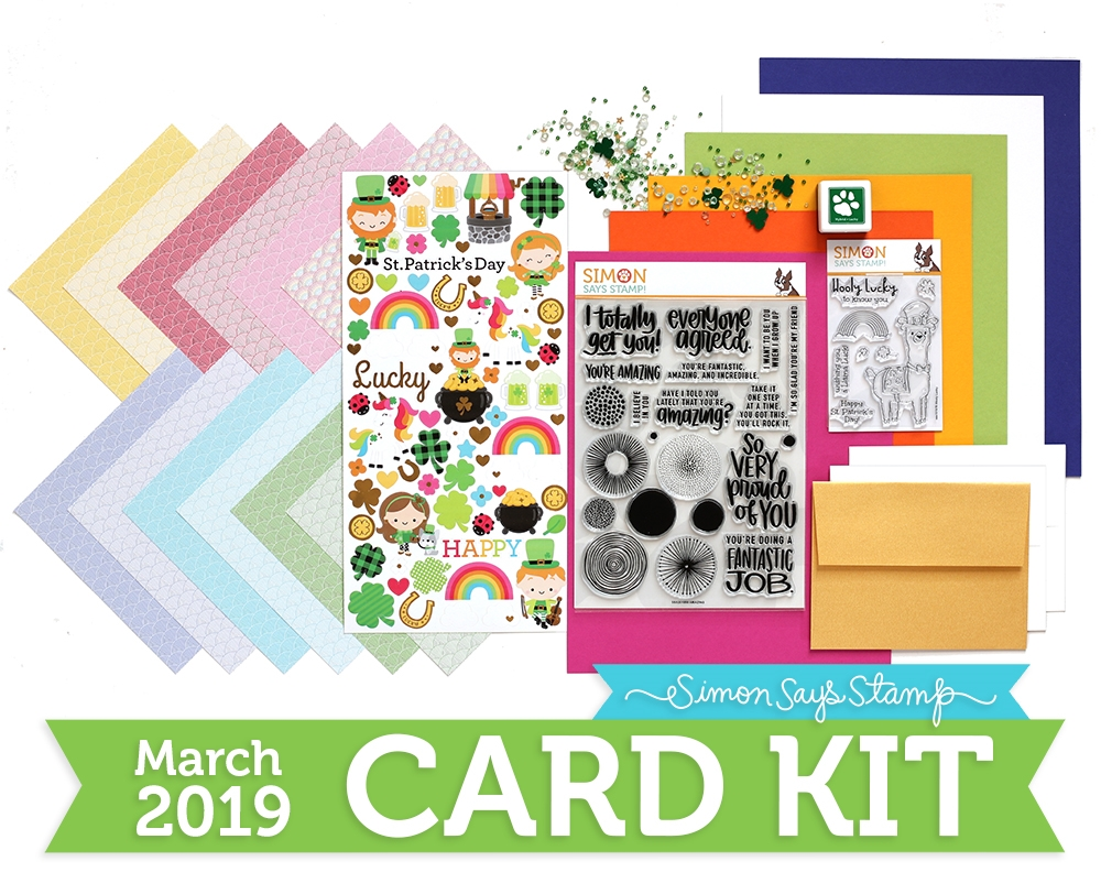 Simon Says Stamp Card Kit of The Month MARCH 2019 LUCKY RAINBOW ck0319 zoom image