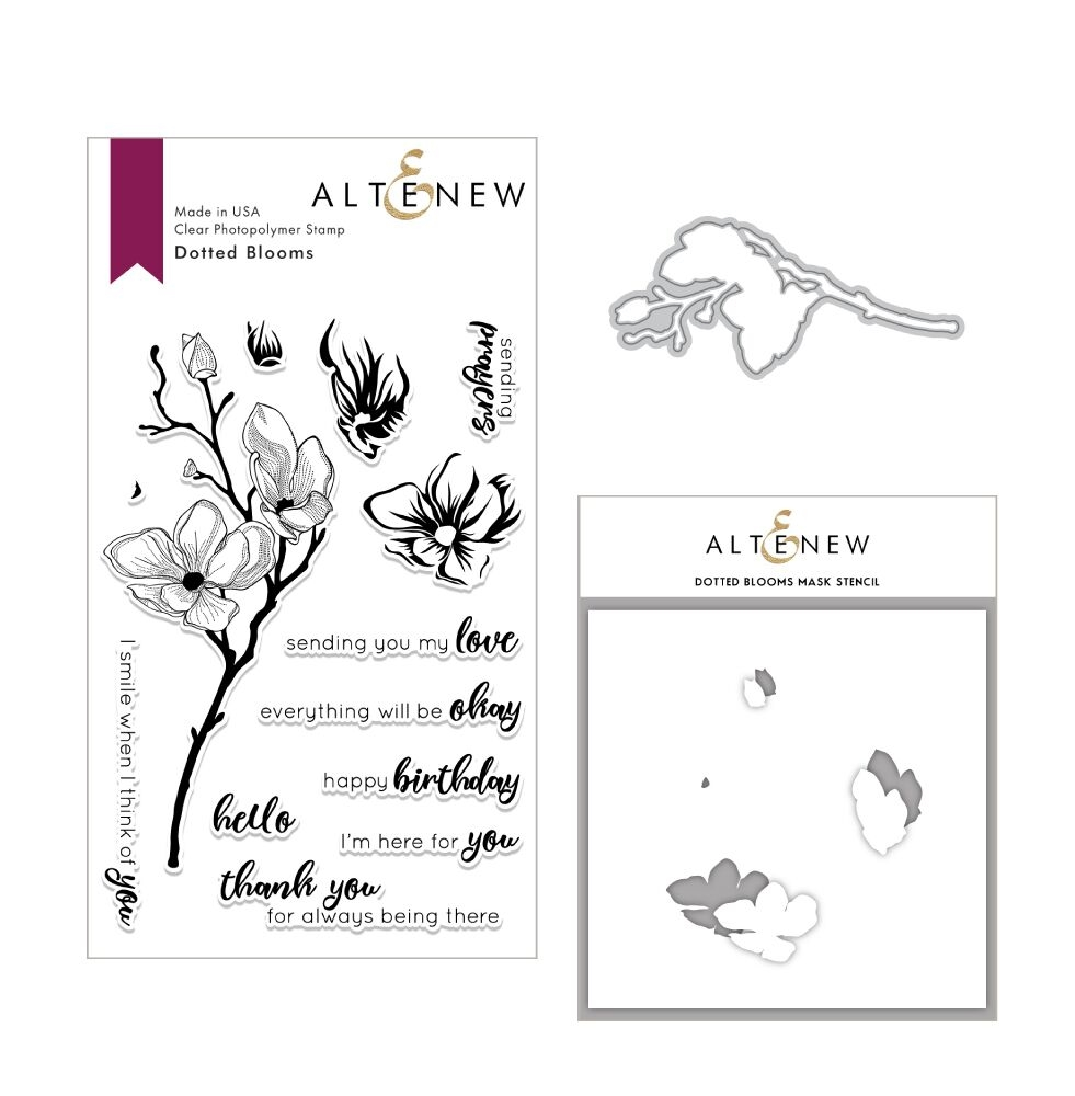 Altenew DOTTED BLOOMS Clear Stamp, Die and Stencil Bundle ALT3016 zoom image