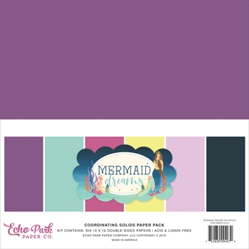 Echo Park MERMAID DREAMS 12 x 12 Double Sided Solids Paper Pack mdr175015