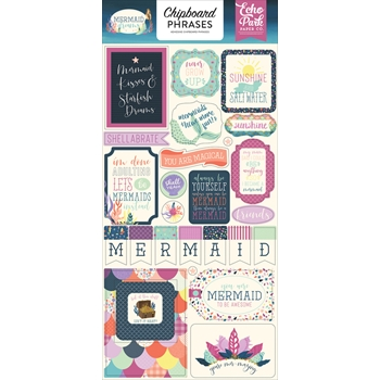 Echo Park MERMAID DREAMS Chipboard Phrases mdr175022*