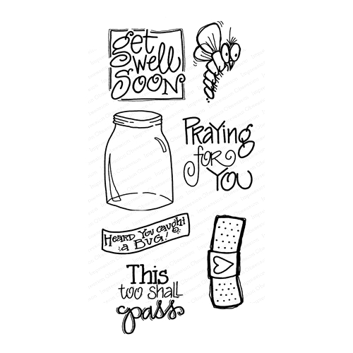 Impression Obsession Clear Stamps GET WELL WP914 Preview Image