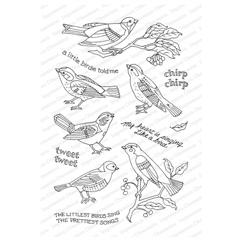 Pink Ink for Impression Obsession Clear Stamps LITTLE SONGBIRD CL931* Preview Image