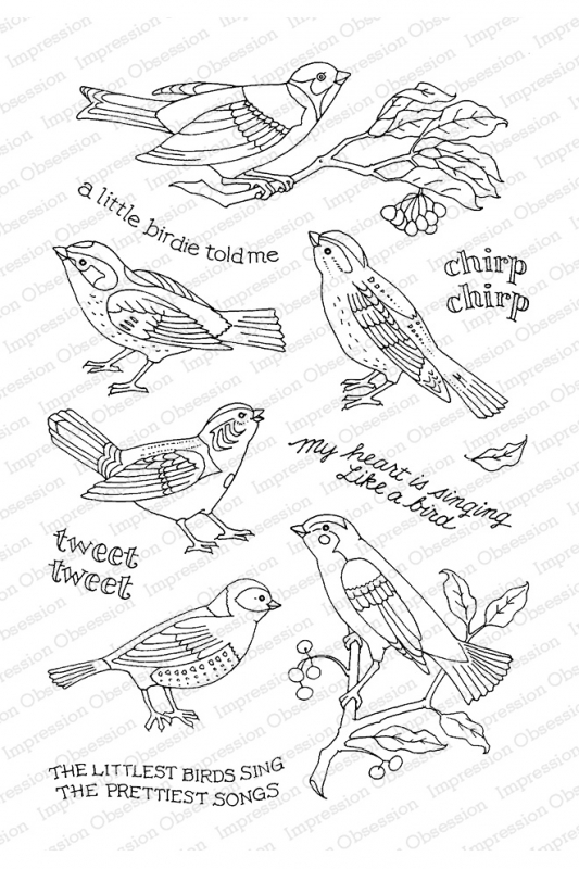 Pink Ink for Impression Obsession Clear Stamps LITTLE SONGBIRD CL931 zoom image